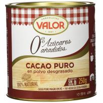 Cacao puro en polvo desgrasado 0% Azúcares añadidos VALOR 250 Gr
