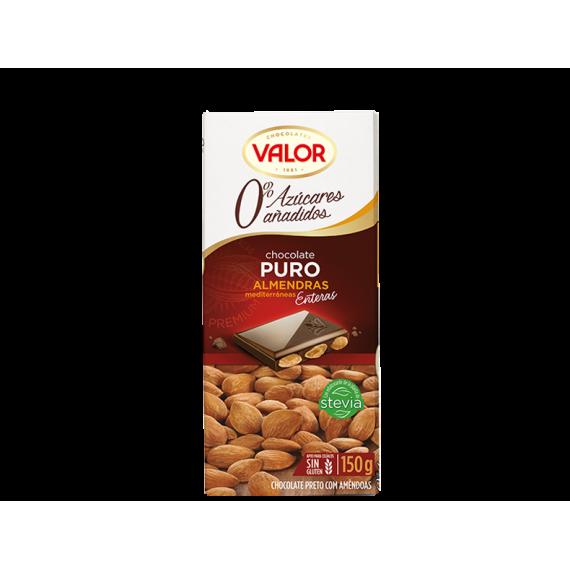 Chocolate Puro con Almendras Mediterráneas. 0% Azúcares Añadidos VALOR 150 GR