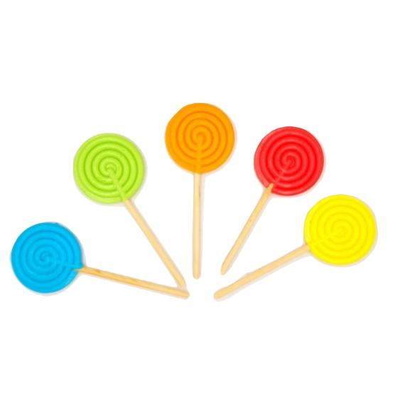 Piruleta Redonda Espiral Color Opaco  50 Unidades