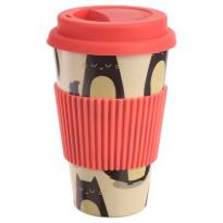 Vaso con Tapa de Bambú GATITOS 400 ML