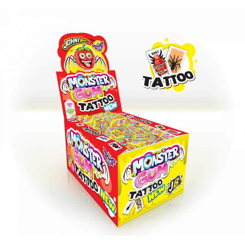 Monster Active Tattoo Bubble Gum Tattoo 200 Unidades