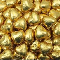 Corazones Oro Dorado de Chocolate con Leche DOLCI MOMENTI 1 kg